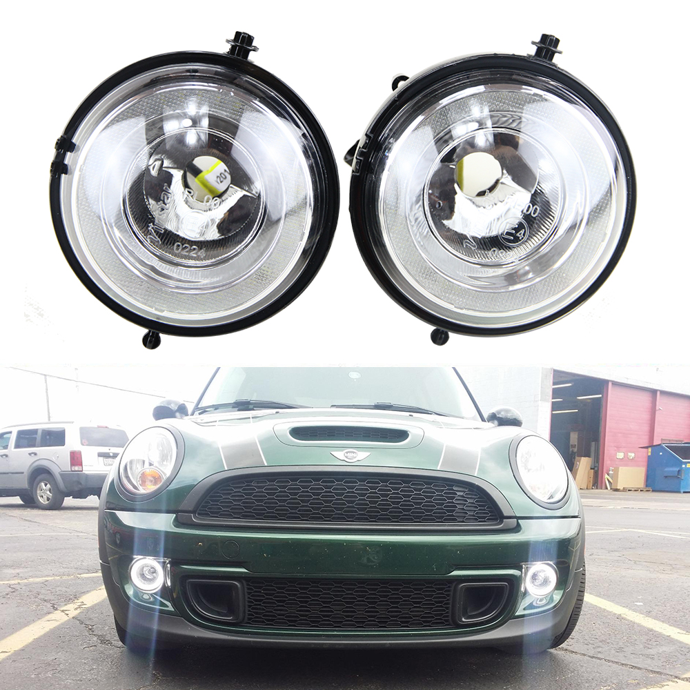Exact Fit High Power Halo angel eyes Style LED Daytime Running Lights Fog Lamps Assembly For MINI Cooper R55 R56 R57 R58 R60 R61 new led daytime running lights drl with halo ring angel eyes for mini cooper rally driving lights front bumper 6000k 1900lm auto