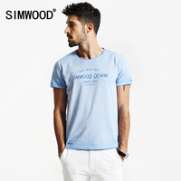 SIMWOOD 2017 Spring Summer New Fashion Vintage T Shirts Men 100 Pure Cotton Curled Hem Slim