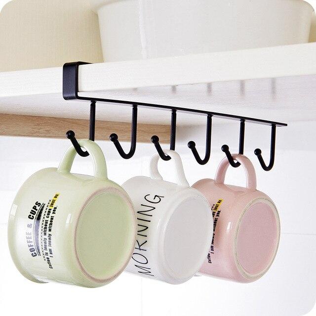 No Nail Kitchen Storage Rack Cupboard Bathroom Hanging Hook Shelf Dish Hanger Chest Organizer