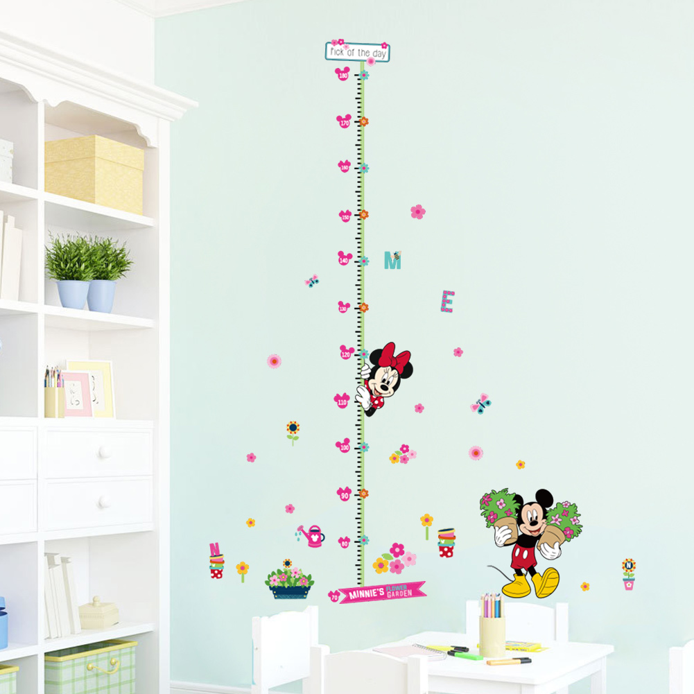 Minnie Mickey Flowers Growth Chart Wall Stickers For Kids Room Decor