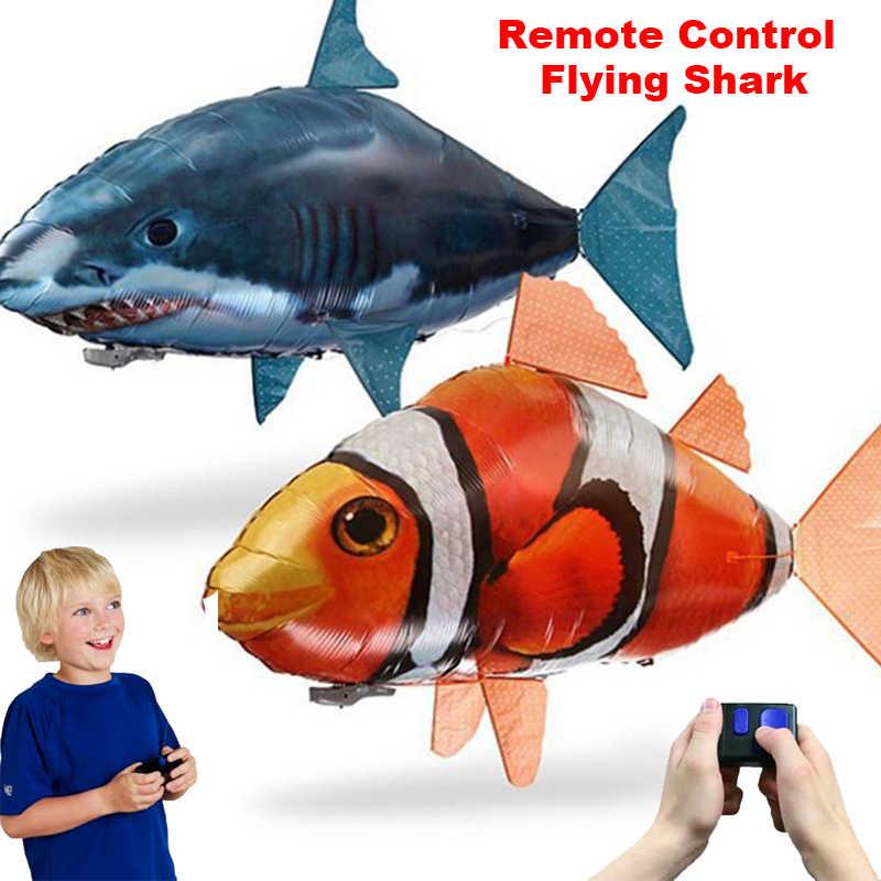 b04f89e0407eee Удаленный Управление игрушечные акулы Air плавательная рыба инфракрасный на  дистанционном управлении Летающий воздушные шары рыба-