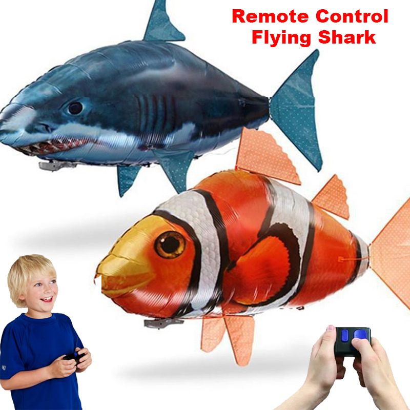 Remote Control Shark Toys Air Swimming Fish Infrared RC Flying Air Balloons Nemo Clown Fish Remote Control Air Plane Kids Toys