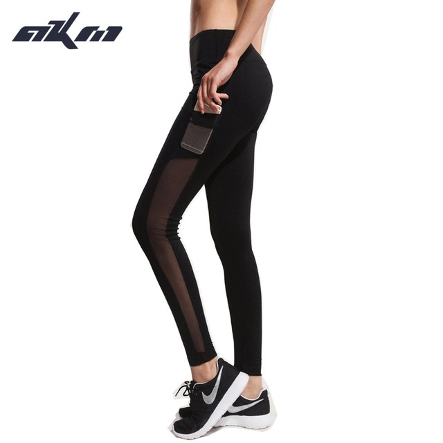 High quality Women's sexy Breathable Women Patchwork With Pocket Quick Drying Elastic Leggings Pants Fitness Trouser