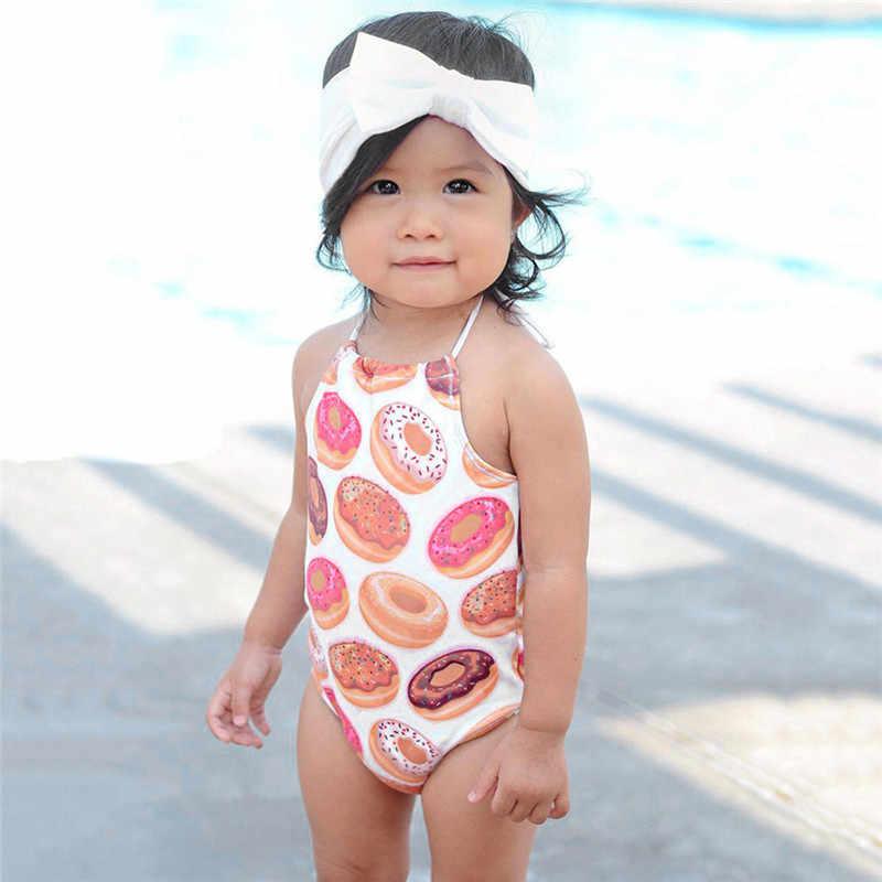 CHAMSGEND בגדי ים צבעוני לפעוטות תינוקת ביקיני בגדי ים רצועות בגד ים רחצה חוף Romper בד שמש הגנה ינואר 3