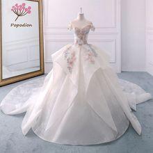 Popodion white lace flowers satin bride dress wedding dress