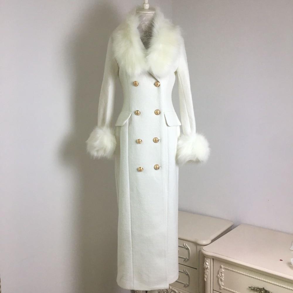 Winter Fashion Women Woolen Coat Big Fur Collar White Woolen Coat  Double Breasted Slim Long Wool Blends