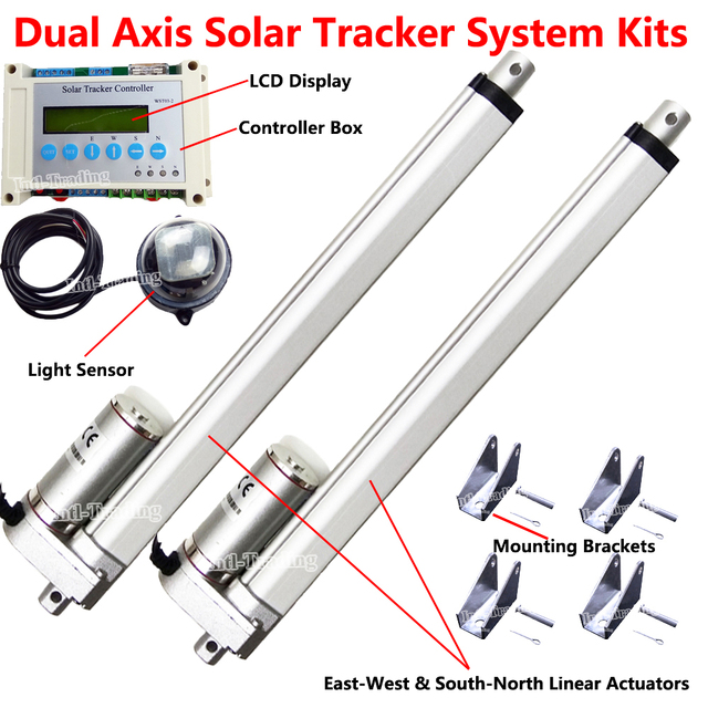 Dual Axis Solar Tracker DIY Parts -12'' Linear Actuator 1500N Motor &LCD Tracking Controller &Light Sensor for Solar Track Power