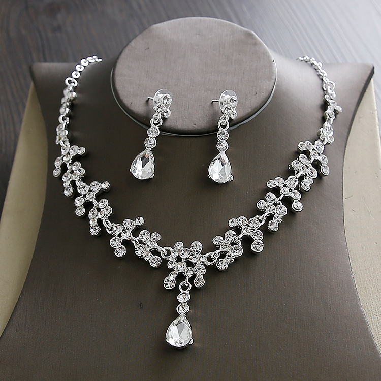 Wedding Sets for Women Bling Bride Hair Accessories Tiaras Earrings Necklace Wedding Jewelry Sets (7)