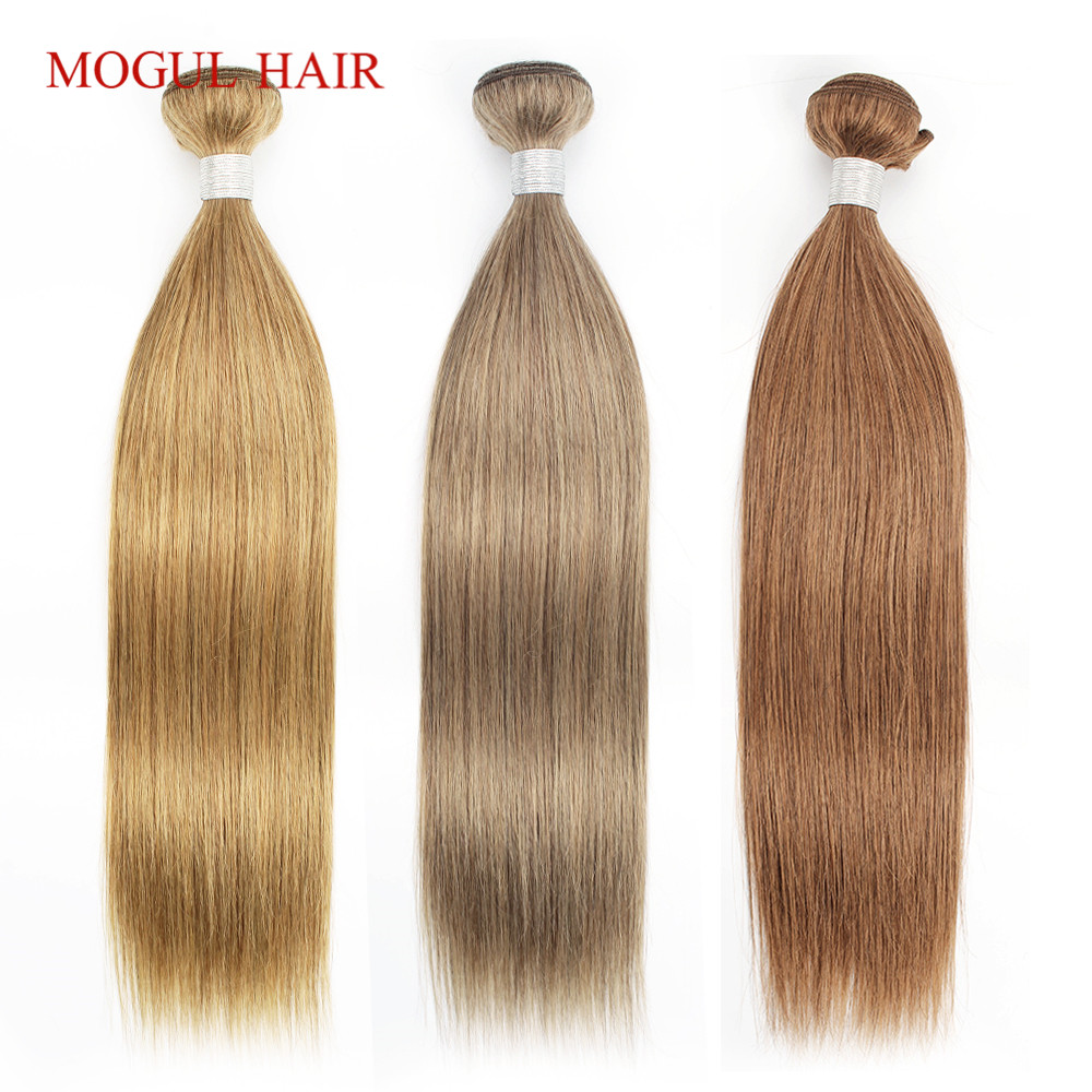 Mogul Hair Color 8 Ash Blonde Color 27 Honey Blonde Color 30 Auburn Indian Straight Hair Weave Bundles Remy Human Hair Extension(China)