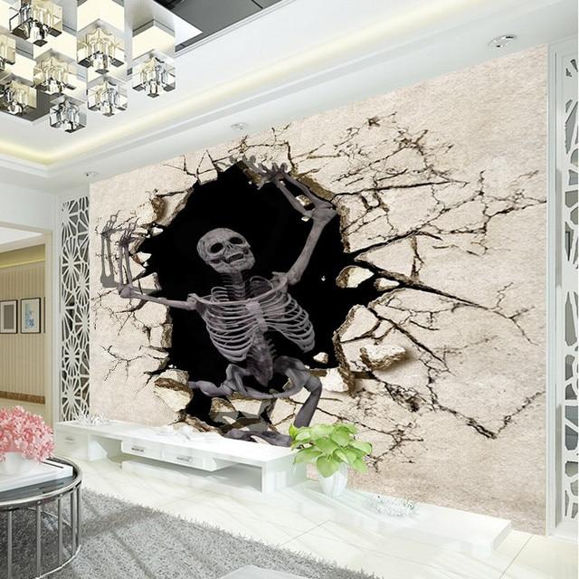 3D Terror Skeleton Photo Wallpaper Halloween Wall Mural Custom Silk