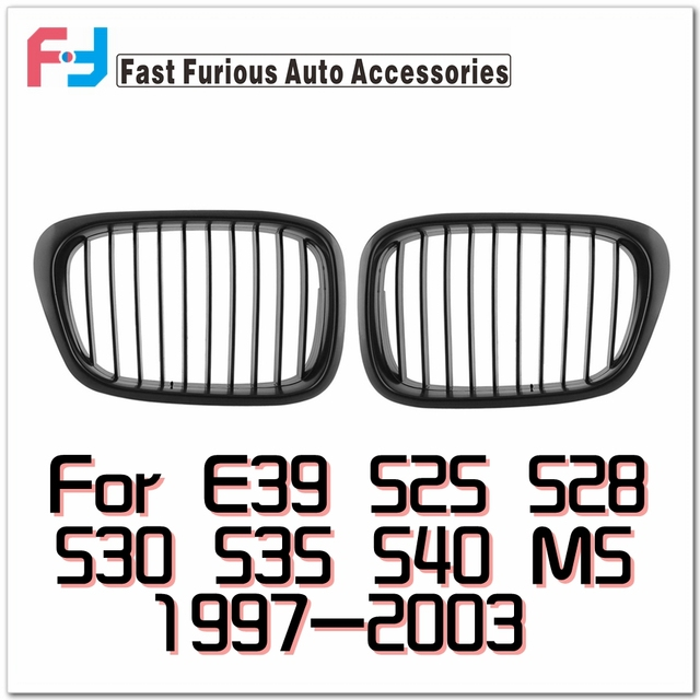 Grade dianteira Para BMW E39 5-Series M5 525 530 540 1997-2003 Preto Fosco Para hamann Corrida Grades Frontais Grill