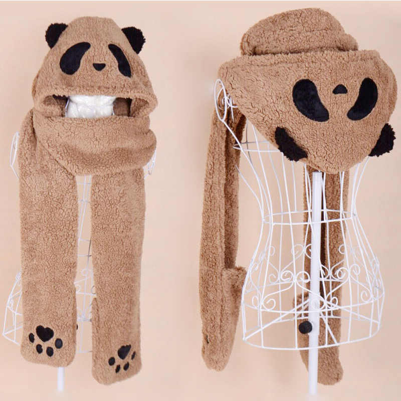 52b86268d62b9 Winter Hat Scarf Glove Set Funny Female Cotton Warm Women Girl Lovely Panda  Deer Comfortable Gloves Cap Sets Conjoined Adult