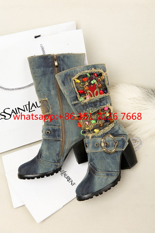 Spring High-Heeled Women's Boots Motorcycle Boots Denim Rough With Heavy-Bottomed Side Zipper Martin Boots Cowboy Riding Bootas