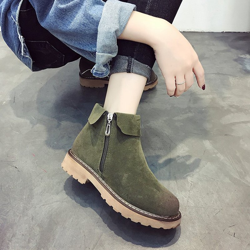 COOTELILI Side Zipper Ankle Boots For Women Winter Shoes Fashion Rubber Sole Platform Boots Ladies Shoes Black Brown 35-39 (3)
