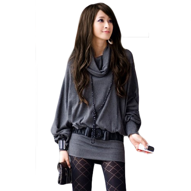 women <font><b>t</b></font> shirt 2016 new fashion <font><b>version</b></font> of <font><b>Japan</b></font> hot sale turtleneck full sleeve loose knitted <font><b>T</b></font>-shirts no belt 6388