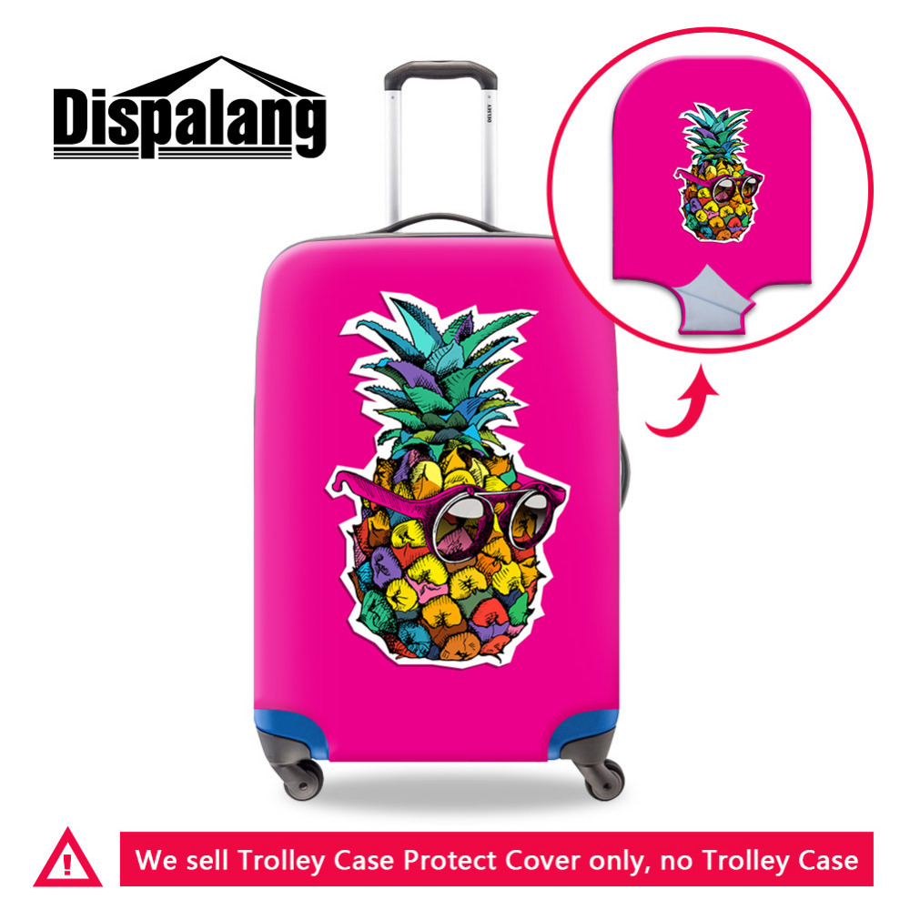 Elastic Travel Luggage Cover Yellow Pineapples Suitcase Protector for 18-20 Inch Luggage