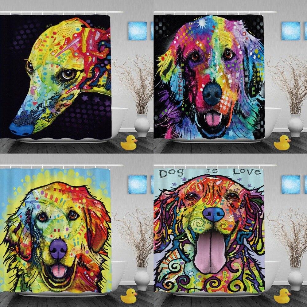 Cortinas de ducha de perro Golden Retriever encantadoras Cortinas de - Bienes para el hogar