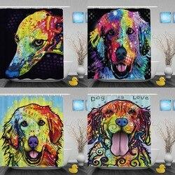 Lovely Golden Retriever Dog Shower Curtains Colorful Art Animal Bathroom Curtain Waterproof Polyester Custom Curtain With Hooks