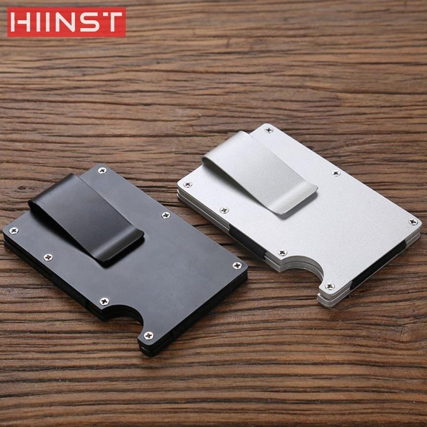 Nueva alta calidad de la manera de los hombres Cartera de metal tarjeta de crédito titular de viaje Carpeta de aluminio con la cubierta pasaporte bloqueo Dropship