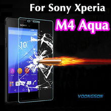 VOONGSON M4 9H 2.5D Retail Box Explosion-proof Tempered Glass For Sony Xperia M4 Aqua Premium Screen Anti Shatter Protector Film