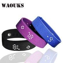 WAOUKS H5S LED alarm clock silicone waterproof good Bracelet sports activities pedometer