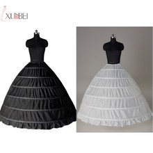 White Black 6 Hoop Wedding Bridal Petticoat Crinoline Ball Gown Skirt Underskirt Slips Accessories Jupon Mariage