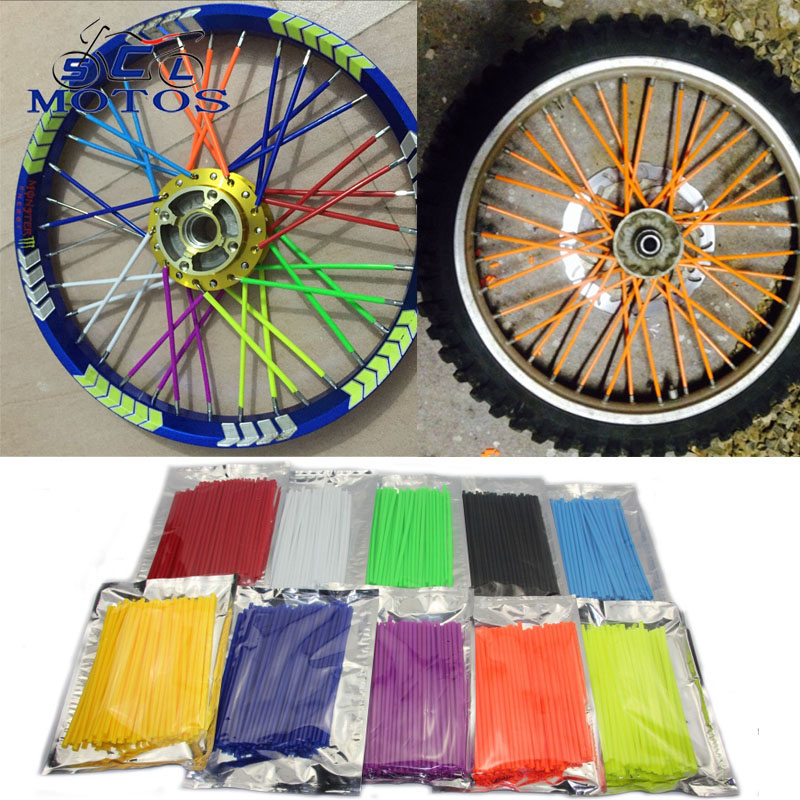 Sclmotos- Motorcycle Dirt Bike Enduro Off Road Rim Wheel Spoke Skins For Honda CRF 450 CR CRF XR XL 85 125 250 500 for KTM motocross dirt bike enduro wheel rim spoke shrouds skins covers wr250 for ktm kx85 exc450 for kawasaki kx 500 crf yzf rmz kxf