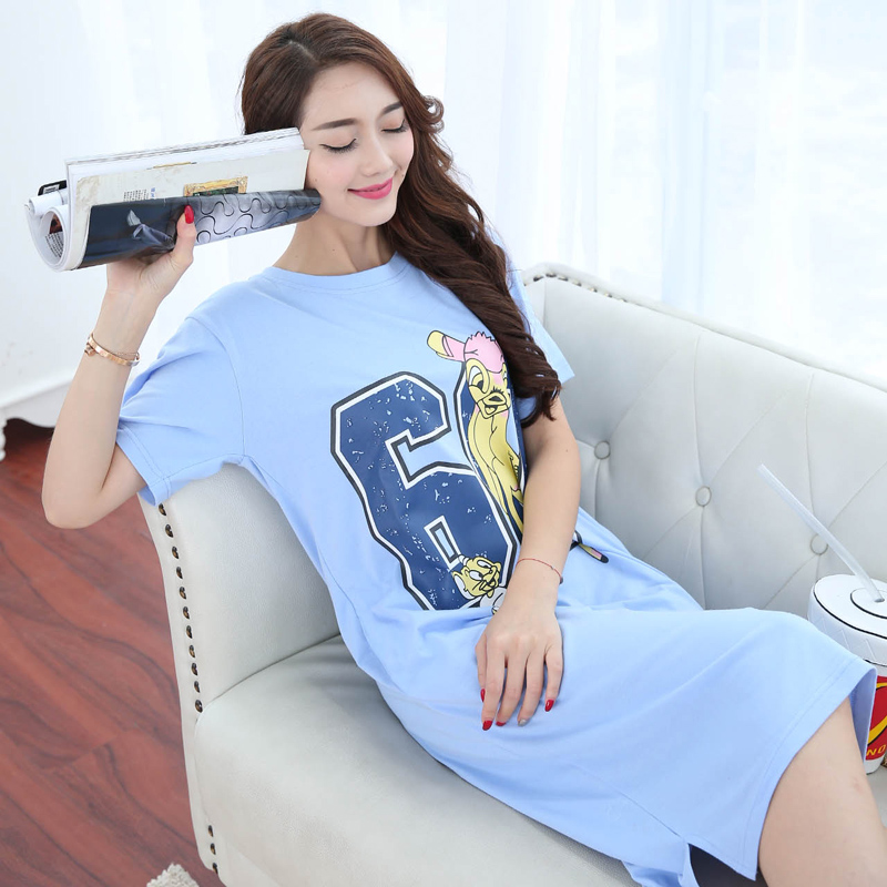Summer New Knitted Cotton Women's Sleep Lounge Dress Big Girls Cute Sleepwear Nightgowns Sleepshirts Night wear Shirts Homewear