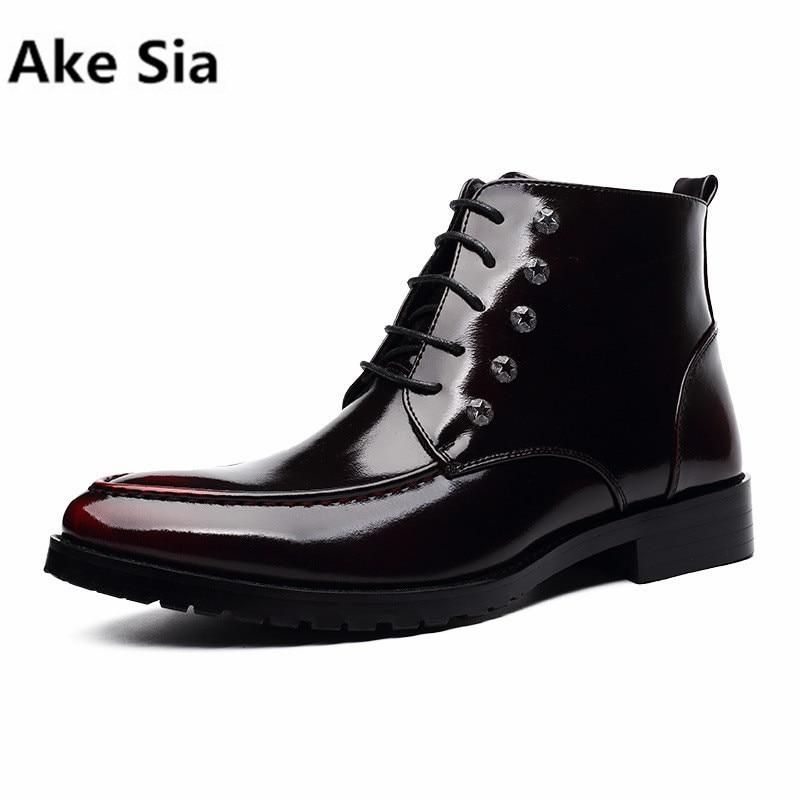 Ake Sia 2018 new winter Martin boots men high plus velvet warm boots bright leather rivets men's snow boots каталог sia
