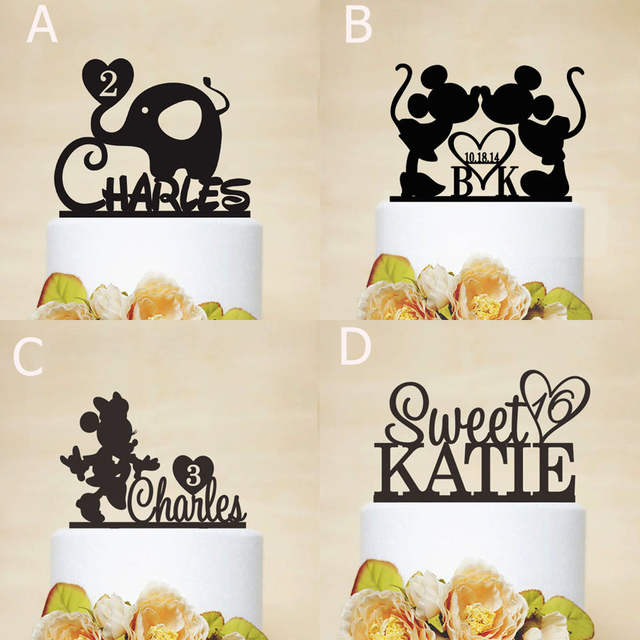 Online Shop Custom Name Birthday Cake Topper Baby Shower Party Decoration Kids Casamento Personalized Toppers Favor