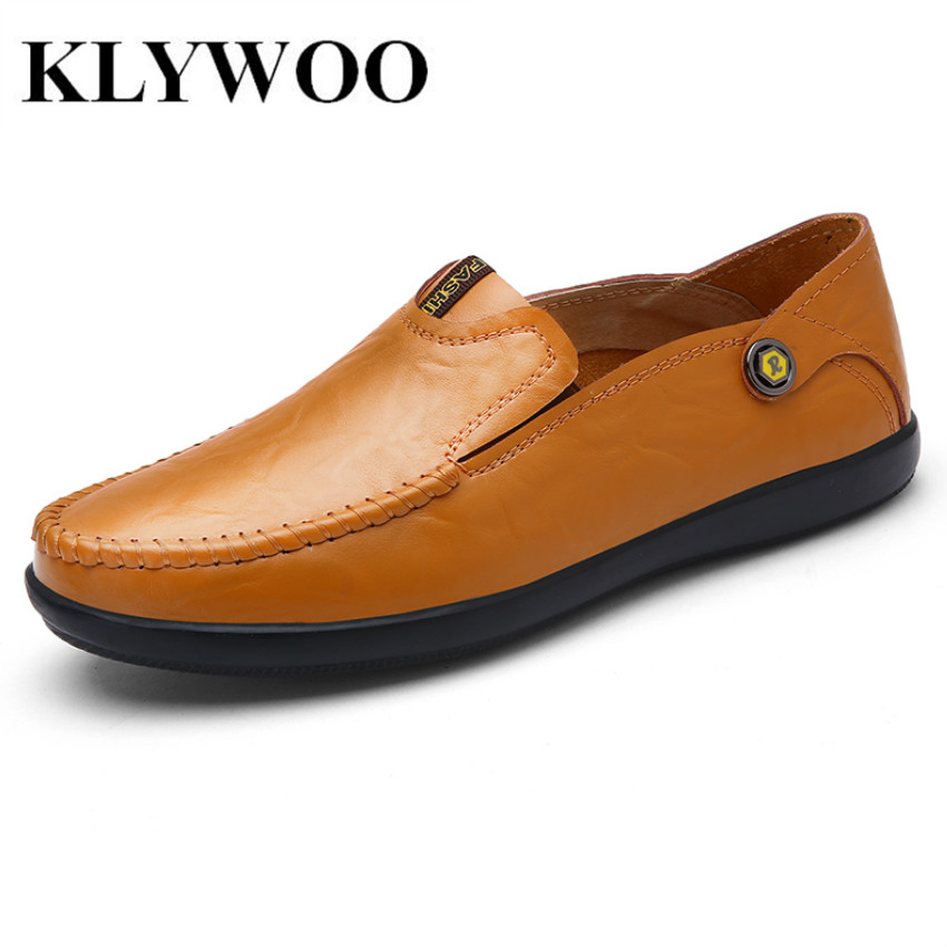 KLYWOO Plus Size 37-46 Brand Leather Men Shoes Casual Moccasins Loafers Fashion Luxury New Men Oxfords Breathable Driving Shoes cbjsho brand men shoes 2017 new genuine leather moccasins comfortable men loafers luxury men s flats men casual shoes