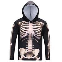 Cloudstyle 2018 Fashion 3D Hoodies Sweatshirts Men Standing Skeleton 3D Print Gothic Crewneck Hoody Pullover Tops