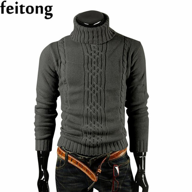Feitong Sweaster Moda Hombres de Manga Larga de Cuello Alto Casual Slim Fit  Pullover Hombres Suéter 7c9e919d3241