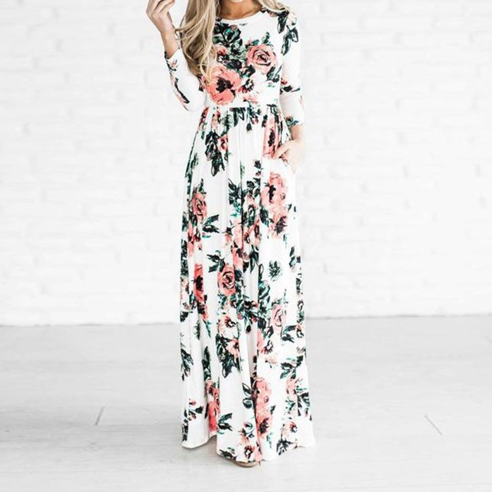 Preself impreso floral maxi dress de las nuevas mujeres de cuello redondo de la