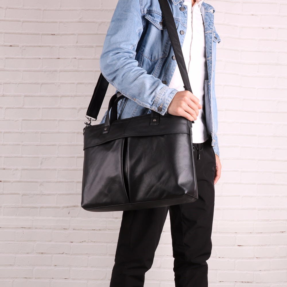 "JOYIR Genuine Leather Briefcase Men Bag Business Handbag Male 15.6"" Laptop Shoulder Bags Tote Large Capacity Men's Briefcases"
