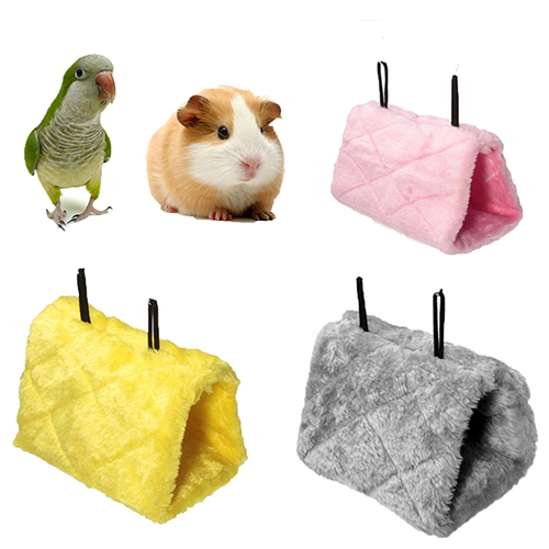 Bird Parrot Hamster Small Pets Hammock Plush Hanging Bed Cave Cage with Buckle