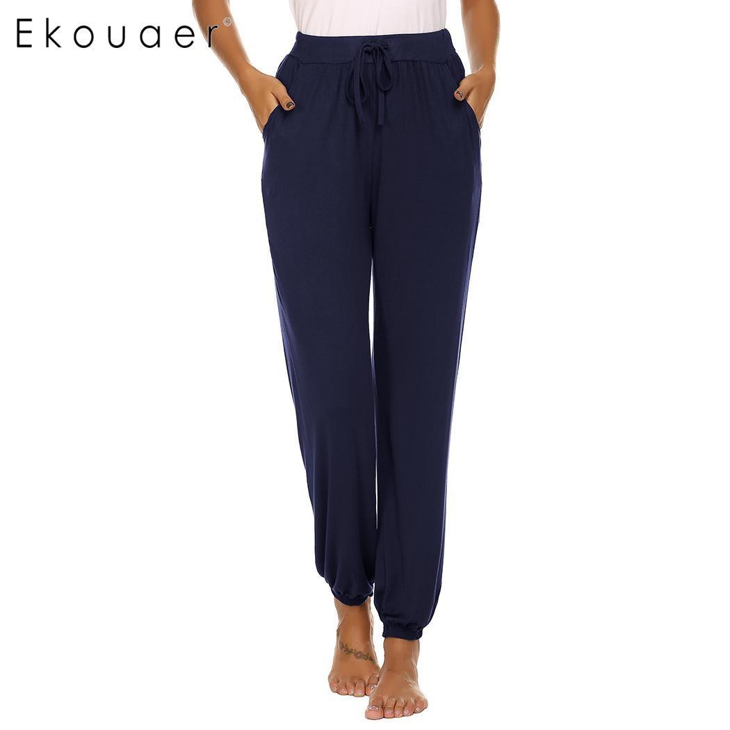 Ekouaer женский эластичный шнурок на талии длинный искусственный шелк пижама Нижняя Lounge нижнее белье брюки для сна мягкая одежда для сна - Цвет: Navy Blue