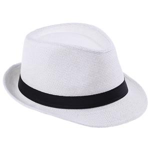 Хит модных продаж унисекс Fedora Мужская Гангстерская шляпа Кепка для женщин Летняя Пляжная шляпа соломенная шляпа-Панама мужские модные крутые шляпы розничная - Цвет: White