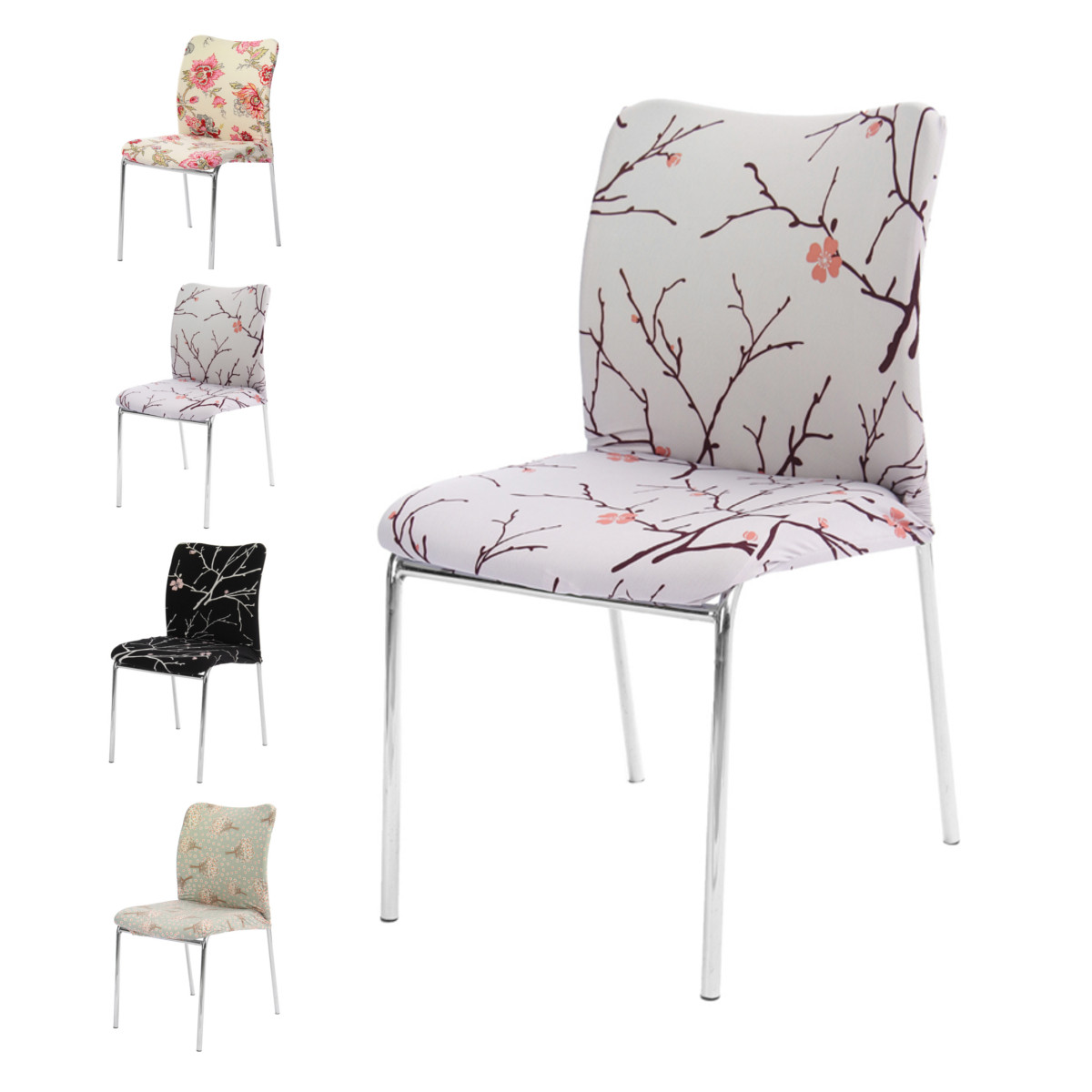 Removable Floral Stretch Short Chair Cover Dining Room Stool Printed Flat Pad Modern Anti Dirty Covers Home Decoration