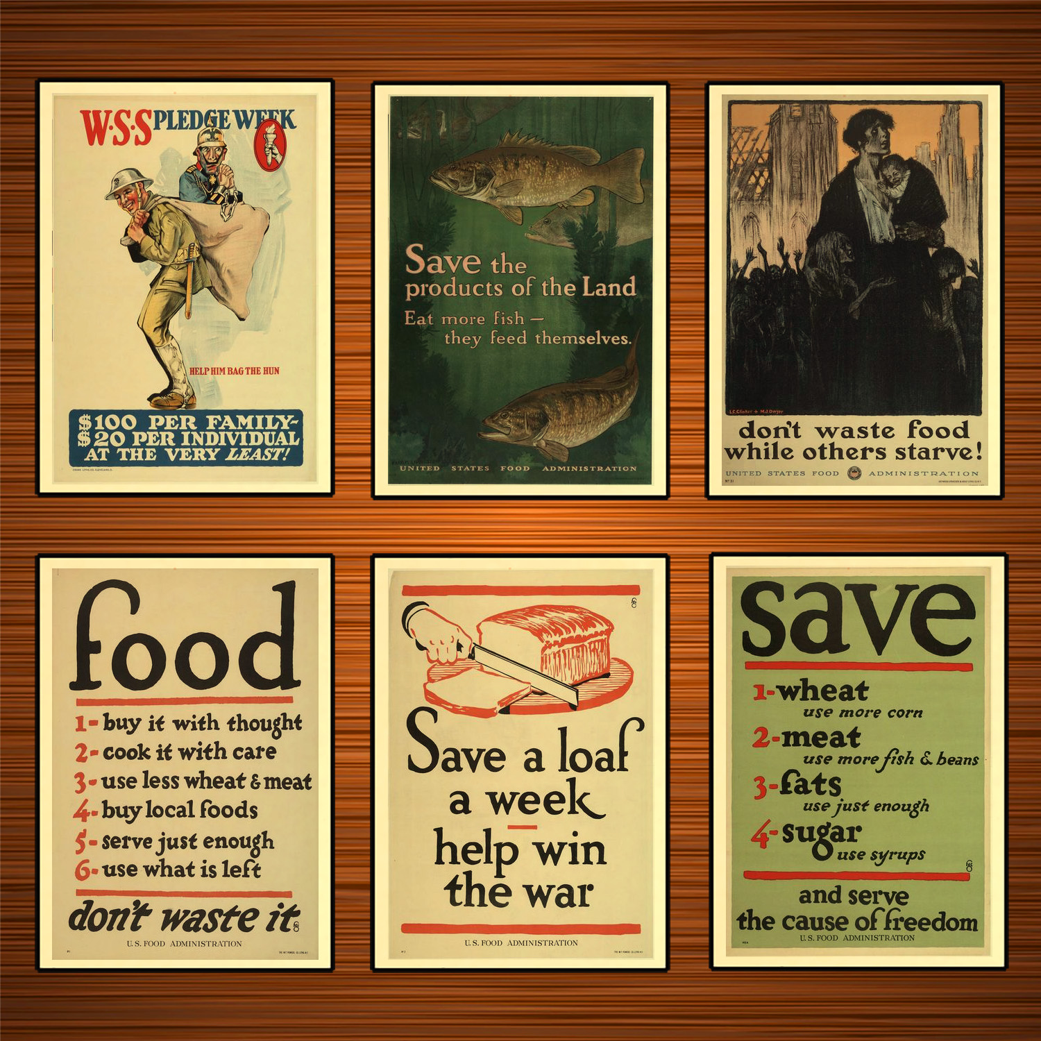 Vintage 1910s USA WW1 Propaganda Poster Don't Waste Food Save Production Classic Canvas Paintings Wall Stickers Home Decor Gift image