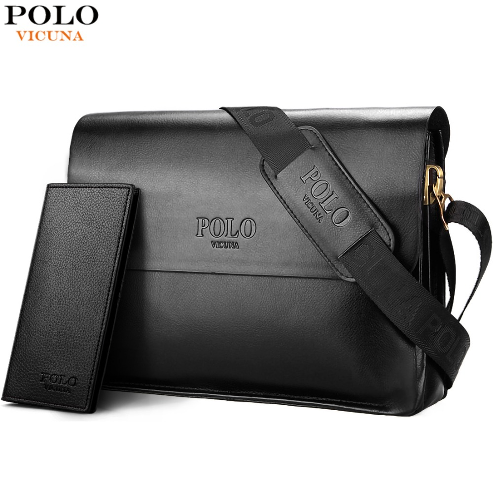 VICUNA POLO Leather Men Bag Business Casual Messenger Bag High Quality Men's Brand Black/Brown Man Crossbody Bags For Travel