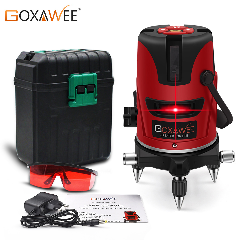 GOXAWEE Laser Level 360 Degree Rotary 5 Lines 6 points Horizon & Vertical Tilt Cross Self leveling Construction Measure Tools-in Laser Levels from Tools    1