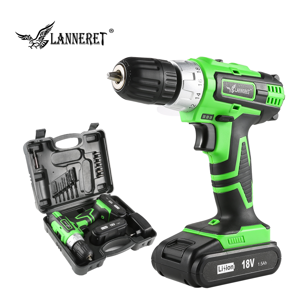 LANNERET 18V DC Lithium-ion Battery 3/8 inch 2-Speed Electric Cordless Drill Mini Screwdriver Household Rechargeable Tools taipower onda 8 inch 9 inch tablet pc battery 3 7v 6000mah 3 wire 2 wire lithium battery