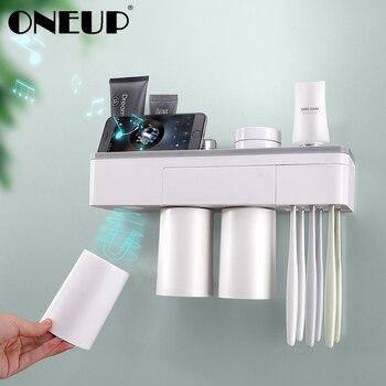 Oneup Adsorpsi Magnetik Terbalik Sikat Gigi Pemegang Makeup Pembersih Telepon Pasta Gigi Penyimpanan Kamar Mandi Dinding Kamar Mandi Set