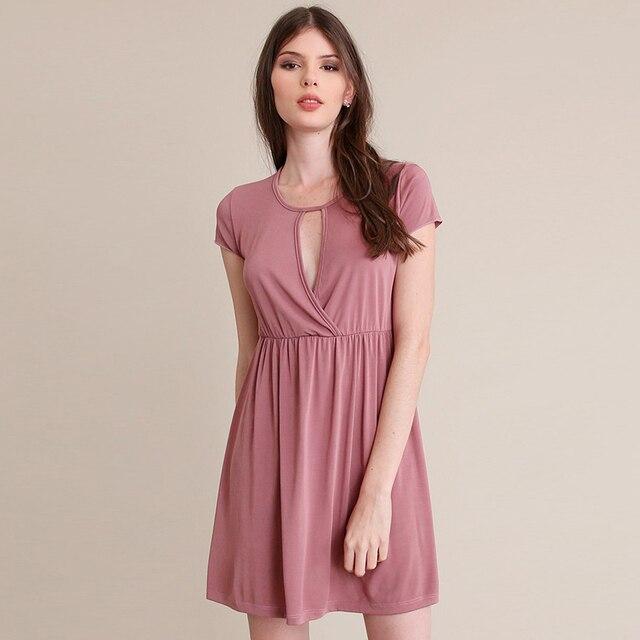 Pink Elegant Sexy Casual Women Dress Short Sleeve Ladies Summer ...