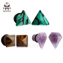 2018 new cat style stone ear plugs tunnel piercing body jewelry pair selling 2pcs lot ear expander gauges