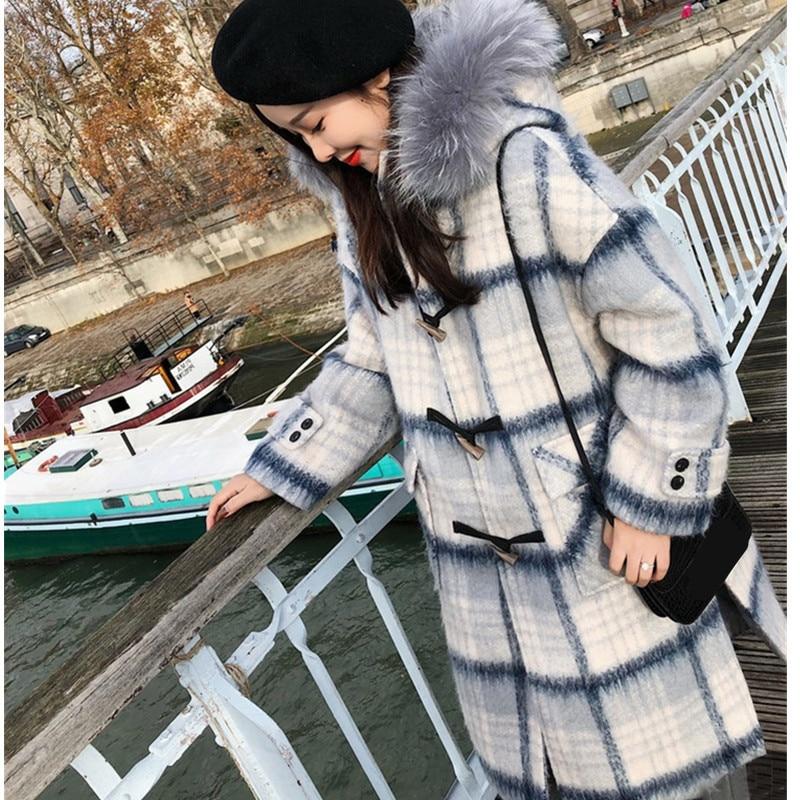 À Taille Moyen Automne Grande Manches Col Longues 4xl Color 2019 Chaud Long Manteau En Femelle Lâche Laine Outwear De Femmes Veste Treillis Fourrure Photo 56vwq