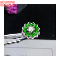 Natural Diopside Ring Sun flowers shaped Genuine Gemstone female Ring 925 Sterling silver Party fine Jewelry Free Shipping #080