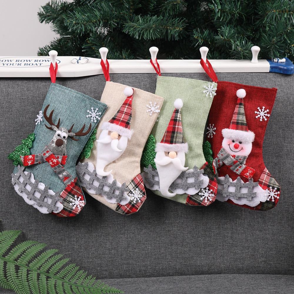 Us 1 46 35 Off Christmas Xmas Tree Hanging Party Tree Decor Santa Sock Gift Candy Bags Cloth 23x16cm Christmas Socks Harajuku 35 In Socks From