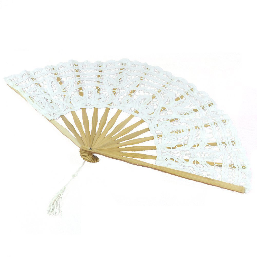 CHFL-Handmade Cotton Lace Folding Hand Fan for Party Bridal Wedding Decoration ( White)